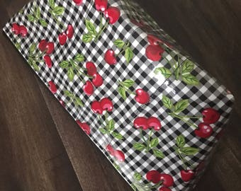 Handmade Gingham & Cherries Large Makeup Bag