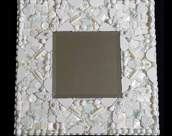 MOSAIC MIRROR glass white Mother of Pearl Home Decor Mirror