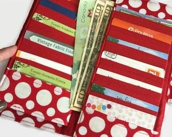 Women's Wallet, Polka Dot Wallet, Credit Card Holder, Card Wallet, Organizer Wallet, Money Wallet, Card Organizer, Women's Card Wallet