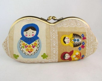 Matryoshka Russian Doll Cute Glasses Case - Soft Eyeglass Case - Eye Glass Case - Sunglasses Case - Sunglass Case - Glasses Case Kiss Lock