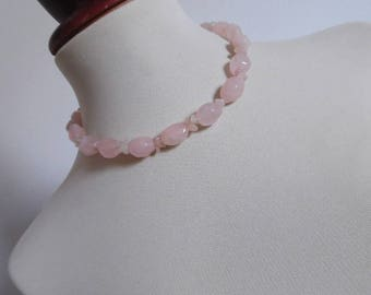 SALE :)) THE CRYSTAL oF UNCONDITiOnal Love . Natural Stone Pastel Rose Quartz Necklace