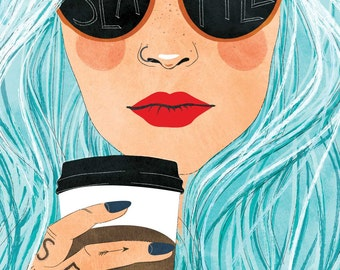 Seattle Blue Hair Hipster - Horizontal Print, woman, coffee, hipster, cool, Seattle