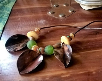 "Leaves - Handmade copper leaf, glass and bone trade beads, leather and handmade copper clasp - 19"", gifts, women, holiday, fashion, boho"