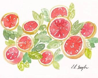 Citrus watercolor painting, green, coral, yellow grapefruit original art, 5x7, watercolor fruit, watercolor citrus, fruit painting, orange
