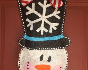 Snowman Burlap Door Hanger, Christmas Door Hanger, Christmas Hand Painted Burlap Door Hanger, Christmas Decorations, Snowman Decor