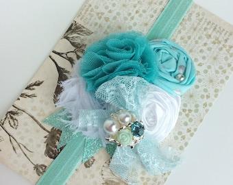 Girl headband aqua blue white headband baby girls headband toddler headband whisical headband matilda jane m2m