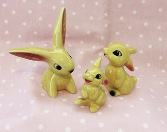 Goebel Bunnies -- Set of 3 -- Yellow Goebel Bunnies -- Vintage Goebel