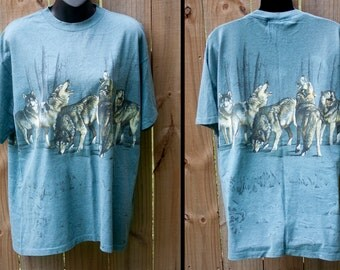 1994 cool wolf howling shirt - Vintage wolves pack t-shirt - Grey blue tee