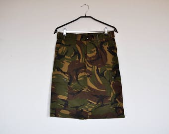 Vintage Grunge Army Camouflage Military Camo Pattern Pencil Mini Skirt with Pockets