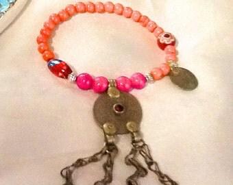 Tribal Kuchi dangle bracelet , bohemian gypsy dangle bracelet , ethnic style nomad bracelet , belly dance bracelet with dangle charm