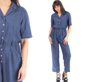 Polka Dot Jumpsuit 80s Pantsuit Vintage Retro Baggy Ankle Romper Pants HASH TAG PRINT 90s Grunge Boho Short Sleeve Navy Blue Cotton Medium