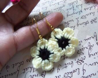 Light Yellow Handmade Crochet Flower Earrings. Crochet Flower Earrings.