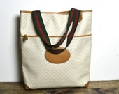 Vintage GUCCI Tote - Authentic 1980s GG Monogram Green & Red Webbing Extra Large Bag