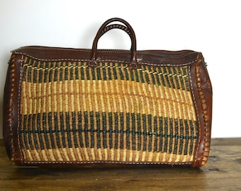 Vintage Woven Straw and Leather Top Handle Duffle Bag - Yoga Gym Tote