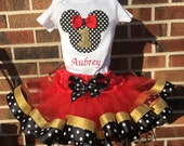 GOLD Black White Red Dot Mickey Disney Girl Boutique Birthday Outfit Tutu Shirt Hat Pink Dots First Second Third Sewn