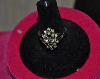 Vintage Clear Rhinestone ring, size 8