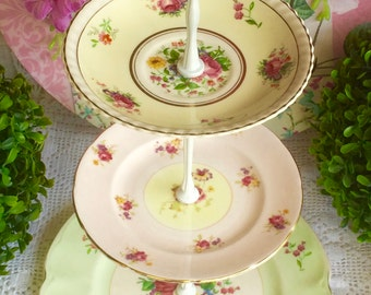 3 tier Pink, Green & Yellow Cake Stand Johnson Bros, Foley