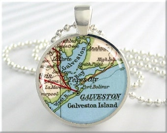 Galveston Map Pendant, Galveston Island Texas Map Necklace, Picture Jewelry, Round Silver, Gift Under 20 (439RS)