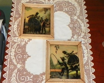 Vintage Wall Art SILHOUETTE Picture Hanging Victorian Couple CONVEX Flowers Floral