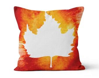 Pillow Cover, White Maple Leaf, Original Watercolour Art, Throw Pillow Case w/optional insert
