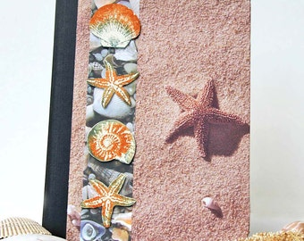 Starfish Journal, Beach Notebook, Altered Composition Book with Lined Pages, Vacation Planner, Personal Diary, Morning Pages, Ocean Inspired