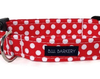 Dog collar in Red and White Polka Dot for Small to Large Dogs