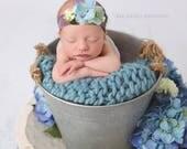 Newborn photography metal tin bucket prop, perfect for indoor/outdoor RTS, rope handle or metal