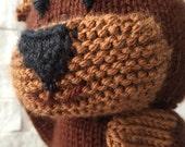 Hand knit bear puppet, knit hand puppet bear, knit glove puppet, knit puppet bear, plush bear puppet, bear plush toy, glove puppet bear