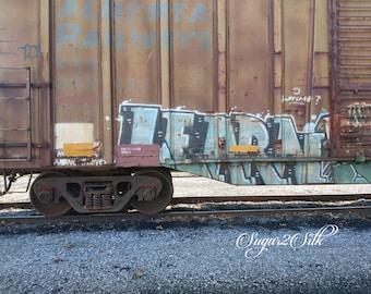 Graffiti Train Car Print or Backdrop Angle 2