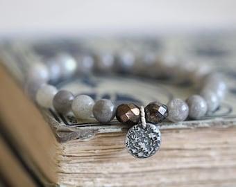 Labradorite, Grey, 8mm, Stretch Bracelet, Stacking Bracelet, Sterling Silver Charm, Czech Glass, Beaded Bracelet, Gemstone Bracelet