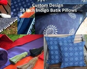 Custom Made Pillows, Indigo Batik 16 Inch Cushion, Choose Colorful Cotton Backing, Add Fringe Or Pom Poms Free Worldwide Shipping