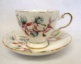 Tuscan Fine Bone China Footed Teacup and Saucer Set, with Blue Flowers, Gold Band and Gold Trim