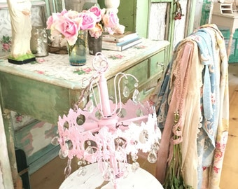 chandelier  pale pink Vintage crystals   shabby chic prairie cottage chic rachel aswell