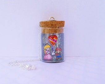 READY TO SHIP, Paper Mario/Princess Peach Bottle Necklace