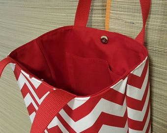 Red and White Chevron Tote/purse
