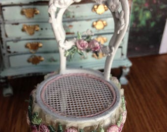 Dollhouse Miniature Shabby Chic Farmhouse Country Cottage Victorian Inspired cane chair