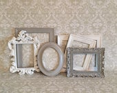 Grey PICTURE FRAMES - shabby chic nursery - set - wedding - Glass N Backing