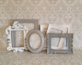 Grey PICTURE FRAMES - shabby chic nursery - set - wedding - Glass N Backing