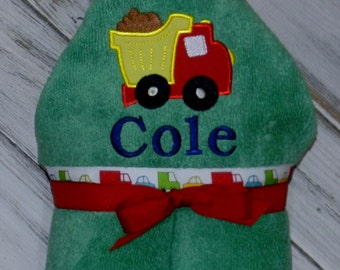 Personalized Dump Truck Hooded Towel