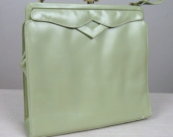 Vintage 1950s Green Purse 50s Minty Sage Leather Handbag Very Cute