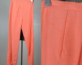 Vintage 1950s NOS Cigarette Pants 50s Peach Rayon Blend Pedal Pushers by JACS Size 24 Waist