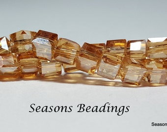 50 Translucent Light Brown AB 6mm Faceted Crystal Cube Beads, Faceted Square Beads - Free Shipping to Canada