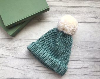 Adults chunky knit hat in teal with pompom, hand knitted warm winter hat, blue merino wool hat, pure wool, chunky knitted beanie hat, etsyuk