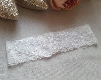 White lace garter, bridal garter, wedding garter, lace garter, embellished pearl applique bride garter