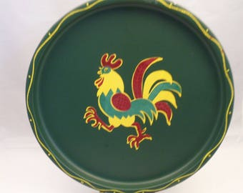 "1950s-1960s Rooster tray/Set of 3 Green metal serving drink trays/7.75"" diameter round tray/vintage barware/vintage snack tray/yellow red"
