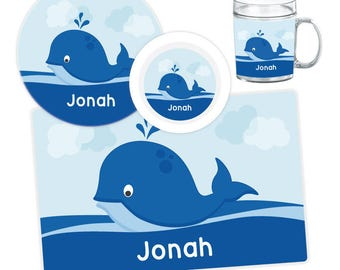 Whale Plate, Bowl, Mug or Placemat - Personalized Plate for Kids - Children Plates - Custom Kids Melamine Tableware Set
