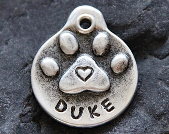 Personalized Pet Gift - Pet ID Tags - Dog Tags - Dog ID Tag - Dog Accessories - Paw Print - Heart - Unique - Pet Tags - Hand Stamped Dog Tag