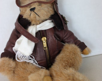 """RARE Cute Old Face Boyds White Tag 9"""" Brown Bear w G-1 Bomber Jacket & Goggles"""