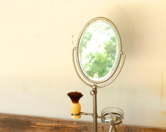 Vintage Antique Table Top Shaving Mirror Stand Tilt Oval Mirror Adjustable Height Razor and Brush Holder
