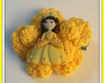 Princess Hair Clip Yellow Handmade Crochet